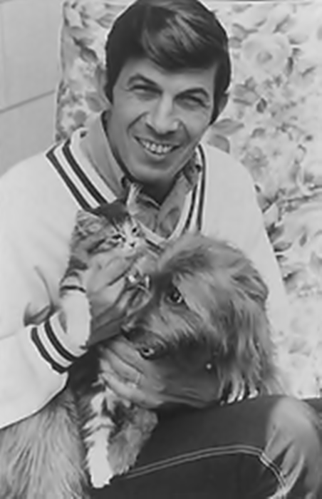 nimoy with his cat and dog