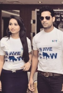 Film stars Kashvi Kanchan and Nafe Ali Khan, promotional photo for Aahinsa.